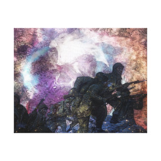 Psychedelic Abstract Marching Soldiers Canvas Prints