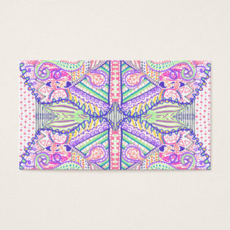 Psychedelic Abstract Neon Kaleidoscope Sketch Business Card