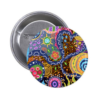 Psychedelic abstract pattern 6 cm round badge