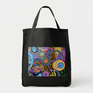 Psychedelic abstract pattern tote bag