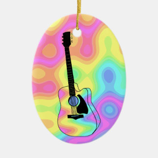 Psychedelic Acoustic Guitar Christmas Ornament
