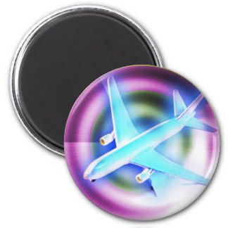 Psychedelic Aeroplane 6 Cm Round Magnet