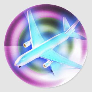 Psychedelic Aeroplane Classic Round Sticker
