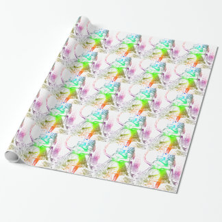 Psychedelic Alice With Colorful Flamingo Wrapping Paper