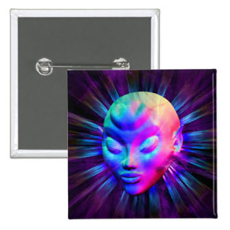 Psychedelic Alien Meditation 15 Cm Square Badge