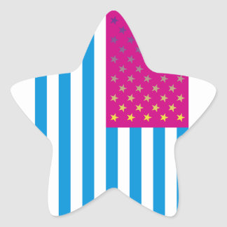 Psychedelic American Flag Star Sticker