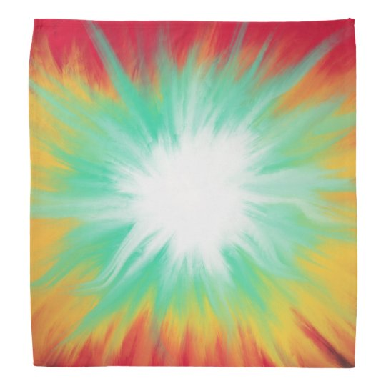 Psychedelic Aqua Red Yellow Abstract Art Design Bandana