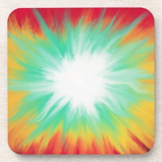 Psychedelic Aqua Red Yellow Abstract Art Design Coaster
