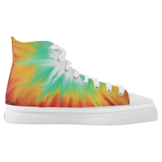 Psychedelic Aqua Red Yellow Abstract Art Design High Tops