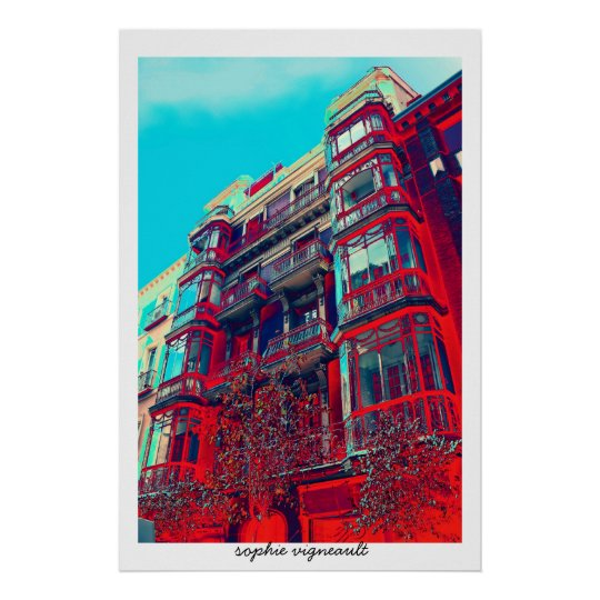 psychedelic architectural building poster print