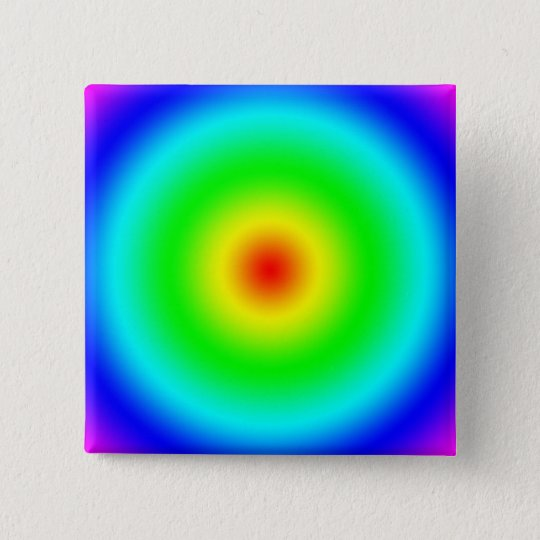 Psychedelic Art Gifts: Funky Rainbow Circles 15 Cm Square Badge