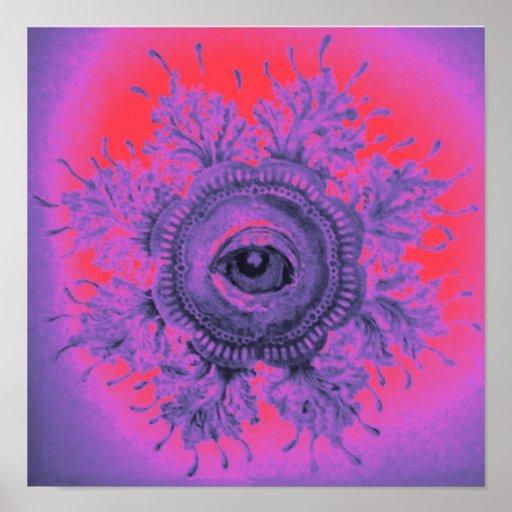 Psychedelic Art Poster Purple Cosmic Eye Goa Psy