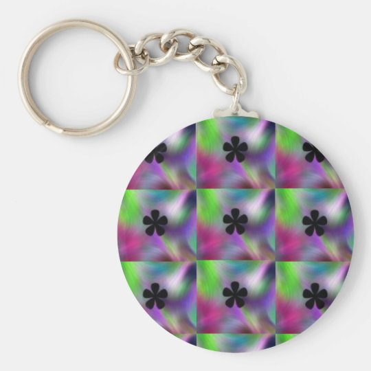 Psychedelic Basic Round Button Key Ring