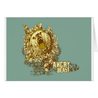 psychedelic bear angry beast greeting cards