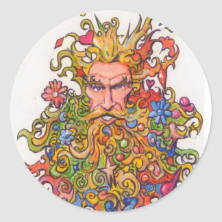 Psychedelic Beard Guy Classic Round Sticker