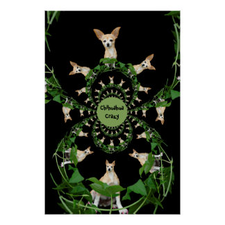 Psychedelic Beige And White Chihuahua Poster