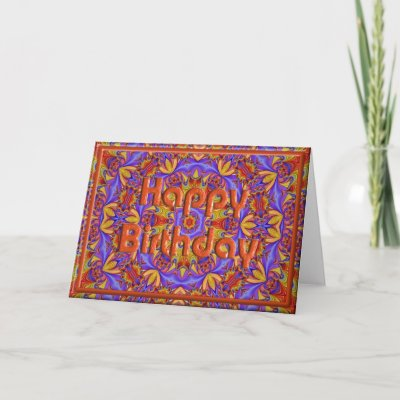 Psychedelic Birthday Card Template by CharmaineZoe