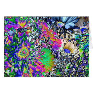 Psychedelic Birthday!-Colorful Flowers Greeting Card