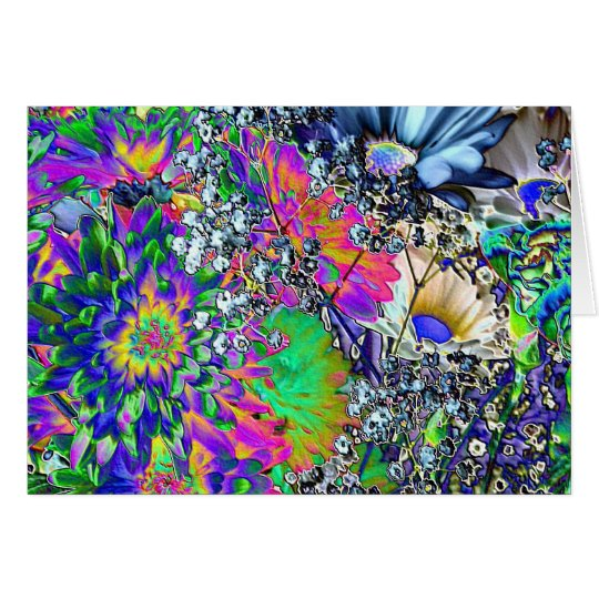 Psychedelic Birthday!-Colourful Flowers Card