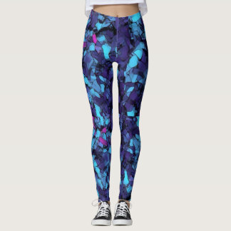 Psychedelic blue kaleidoscope leggings