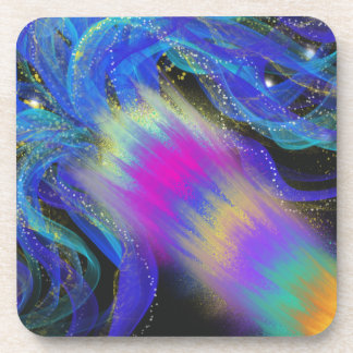 Psychedelic Blue Pink Purple Abstract Art Design Coaster