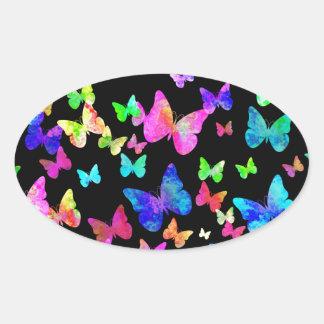 Psychedelic Butterflies Oval Sticker
