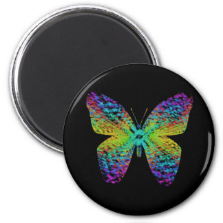 Psychedelic butterfly. 6 cm round magnet
