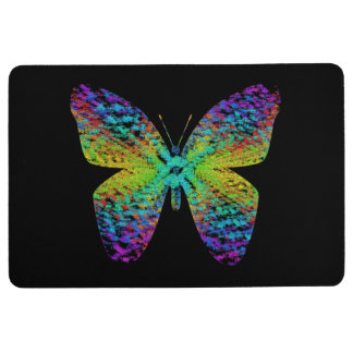 Psychedelic butterfly. floor mat