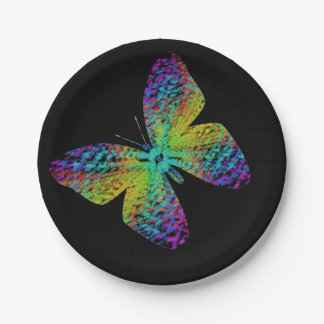 Psychedelic butterfly. paper plate