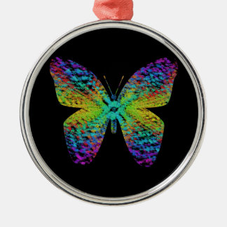 Psychedelic butterfly. Silver-Colored round decoration