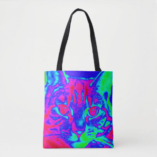 Psychedelic Cat Art Tote Bag