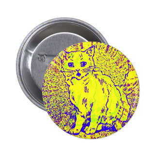 Psychedelic Cat Artwork 6 Cm Round Badge
