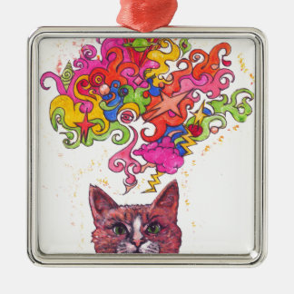 Psychedelic Cat Christmas Ornament