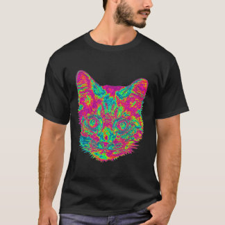 Psychedelic Cat T-Shirt - Black