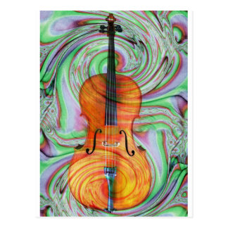 Psychedelic Cello Postcard