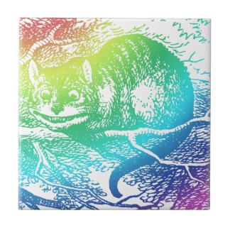 Psychedelic Cheshire Cat Trippy Alice Tile