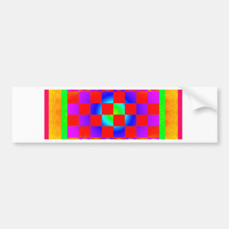 Psychedelic Chessboard and Chess Pieces Bumper Sticker