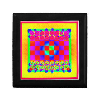 Psychedelic Chessboard and Chess Pieces Small Square Gift Box