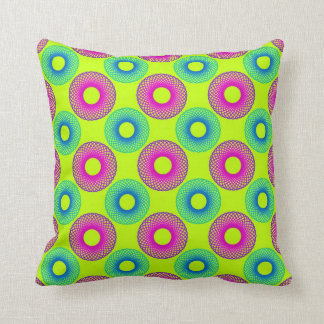Psychedelic Circles on Fluo Green Pillow Cushions
