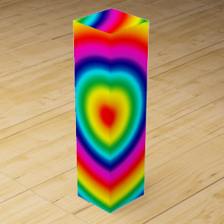 Psychedelic Circles Rainbow Pattern Wine Gift Box