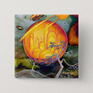 Psychedelic City 15 Cm Square Badge