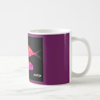 Psychedelic coffee mug pink fish multi colored