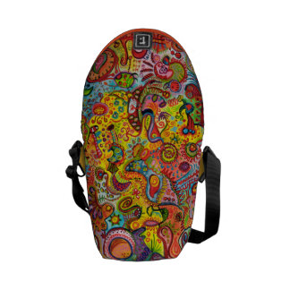 Psychedelic Colorful Abstract Mini Messenger Bag