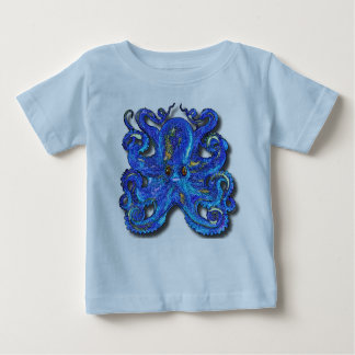 Psychedelic Colorful Blue Octopus With Brown Eyes Baby T-Shirt