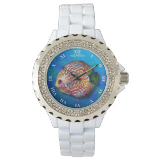 Psychedelic Colorful Exotic Discus Fish Drawing Watch