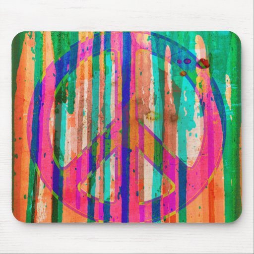 Psychedelic Colorful Peace Sign Mousepad
