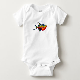 Psychedelic Colorful Triggerfish Fish Drawing Baby Onesie