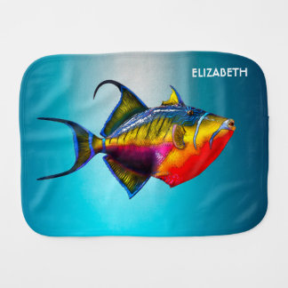 Psychedelic Colorful Triggerfish Fish Drawing Burp Cloth