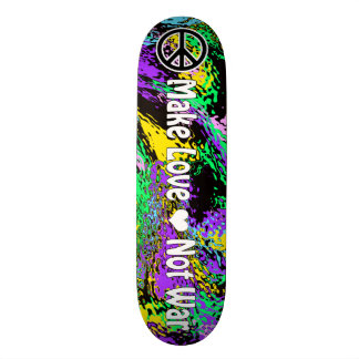 Psychedelic Colors 60's Retro Peace Sign & Slogan Skateboards