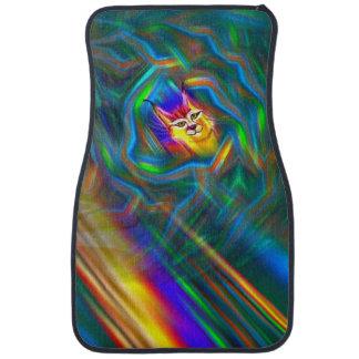 Psychedelic Colour Flow Lynx Portrait Car Mat